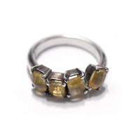 silver rings, Yellow Citrin Ring, handmade rings