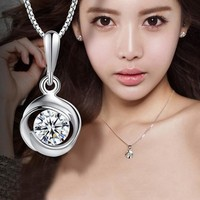 Jewelry Shiny Stylish New Arrival Gift 925 Silver Korean Pendant Necklace [8080527367]