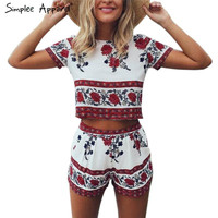 Simplee Apparel Elegant jumpsuit romper two-piece suit Boho chic flower playsuit women Summer style overall Casual beach leotard