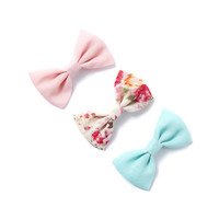 Solid and Print Fabric Hair Bow Clips Set of 3
