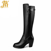 Genuine Leather Fashion Buckle Strap Knee High Boots for Women's Wide Round tube Cow Leather Med Thick Heels Fall Winter Boots