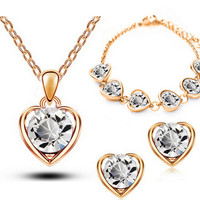 18K Gold & Silver Plated Crystal Heart Necklace Jewelry Women Gift Love