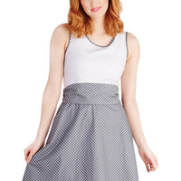 Bea & Dot Mid-length Tank top (2 thick straps) Fit & Flare Make a Good Pinpoint Dress in Grey