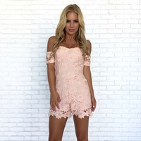 She's In Love Crochet Romper In Pink