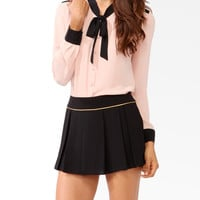 Contrast Self-Tie Blouse   FOREVER21 - 2021839995