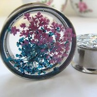 Steel Single Flare Flesh Tunnel Ear Plug Earring Stretcher Plug Real Flower