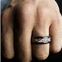 """Camouflage-Camo Inlay """"RIFLE HUNTING FREEDOM"""" Forest Trees Comfort-Fit Wedding Black Ceramic Ring Size 7-15"""