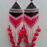 Shoulder Kissing Fringe Earrings with Recycled Big Red Bead Drop Accents with Diamond Eye Green Pattern