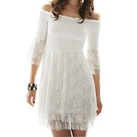 Lady Ruffle 3/4 Sleeve Off Shoulder Lace Dress Top White XS