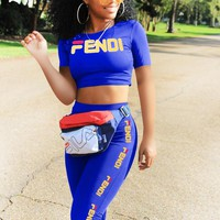 Fendi New fashion letter print top and shorts two piece suit blue