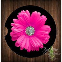 Hot Pink Gerber Daisy Sandstone Car Coaster