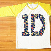 1D Flower T-Shirt 1D T-Shirt One Direction T-Shirt Rock T-Shirt Yellow Sleeve Tee Shirt Women T-Shirt Men Tee Shirt Baseball Tee Shirt S,M,L