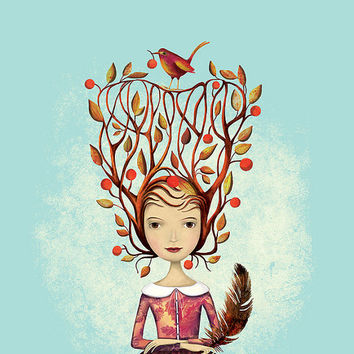 Fall Fairy Thanksgiving Illustration Print Tree Branch Brown Autumn Feather Leaves Bird Yellow Nature Pink Turquoise