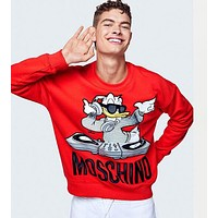 MOSCHINO Newest Trending Stylish Donald Duck Pattern Velvet Sweater Top Sweatshirt Red