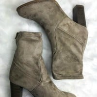 Chimney Rock Taupe Suede Zinc Bootie