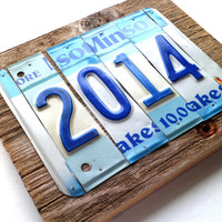 2014 Sign - New Year Sign - Important Date Sign - License Plate Sign - Blue and White Sign - Minnesota Sign - Rustic Reclaimed Wood Sign