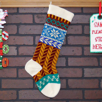 White Christmas Stocking, Hand Knit with Herringbone Pattern in Burgundy and Gold with Snowflake, Fair Isle Knit, can personalize, Gift Idea