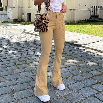Casual Solid Y2K Flare Jeans