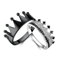 King and Queen Crown Rings 925 Silver Black Series for Women & Men Couples Ring Drop Shipping