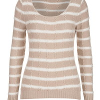 Scoop Neck Striped Sweater - Beige