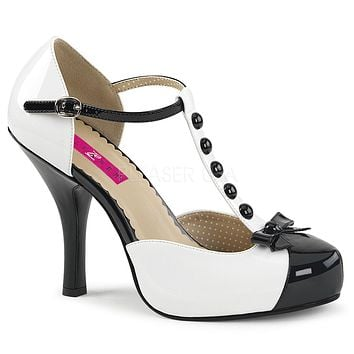 "Pin Up 02 T-Strap Closed Back Sandal 4.5"" Heel Black & White"