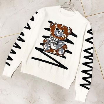 Moschino New fashion letter bear print long sleeve top sweater women White