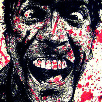 """Print 11x17"""" - Ash Williams - Bruce Campbell Army of Darkness Evil Dead Horror Dark Art Blood Comedy Necronomicon Spooky Cult Pop Gothic"""