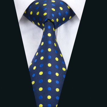 Fashion Men`s Tie Blue Polka Dot  NeckTie Silk Jacquard Ties For Men Business Wedding Party