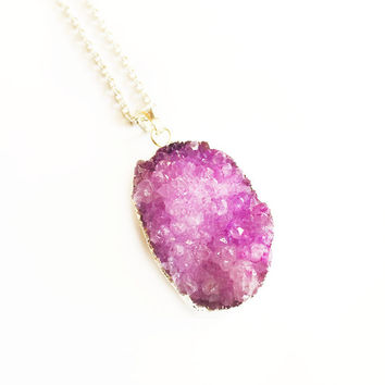 Raw Crystal Necklace, Druzy Pendant Necklace, Purple Druzy Necklace, Silver Necklace, Long Necklace, Geode Necklace, Best Friend Gift