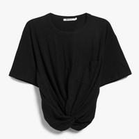 T by Alexander Wang / Front Twist Tee in Black