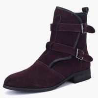 Buckle Suede Pointed Toe Comfortable Boots
