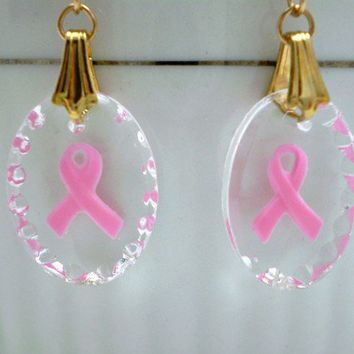 Breast Cancer Awareness Earrings by justByou on Etsy