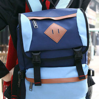 Light Blue PU-Trim Color Block Backpack