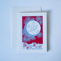 Antique Letterpress Bright Be Your Christmas Moon Card