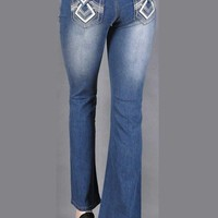 Stretch denim boot cut jeans with washed effect