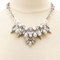 Spiked Stone & Pearl Statement Necklace by Charlotte Russe - Silver