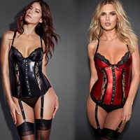 Black Red Hot Sale Women Sexy Lace Slim Waist Leather Vinyl Lingerie Attached Garters Sexy Solid Sets Bustiers