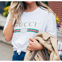 Gucci classic men's and women's simple fashion round neck half sleeve T-shirt
