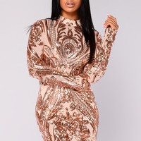 Talitha Sequin Dress - Rosegold