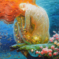 Home Art Decor Fantasy Vintage Mermaid Oil Painting Picture Printed On Canvas Fo
