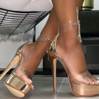 New style ankle strap with glass glue high heel fish-tip sandals