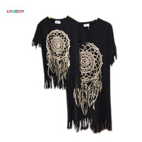 family look 2016 mummy daughter new summer mom and daughter dress matching mother mommy me dress black fringe baby clothes