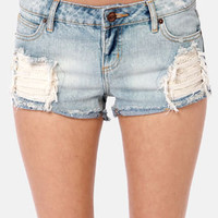 Obey Leather and Lace Destroyed Jean Shorts