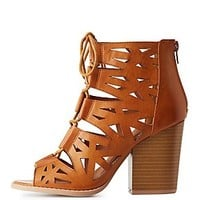 CAGED LASER-CUT LACE-UP HEELS