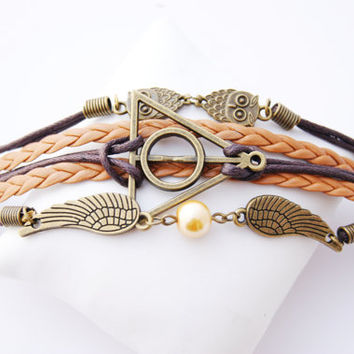 5 Strand Brown Antique Vintage Bronze Owl Deathly Hallows Snitch Faux Leather Braid Cord Bracelet (Adjustable Sizing)