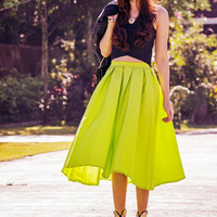 Bright Green Midi Skater Skirt