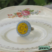 Vintage Button Adjustable Ring Blue Cream Flower Upcycle Repurpose