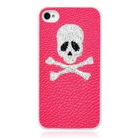 Pink Skull Rhinestone Leather Phone Case For iPhone 4/4S