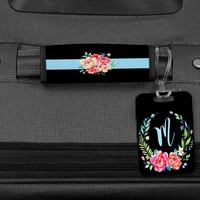 Floral Luggage Handle Wrap, Bag Tag, Personalized Luggage, Travel Gifts, Graduation Gifts for her, Luggage Tag, Personalized bag tag