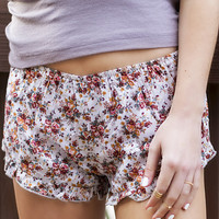 Short And Sweet Floral Print Pearl And Rust Ruffle Shorts